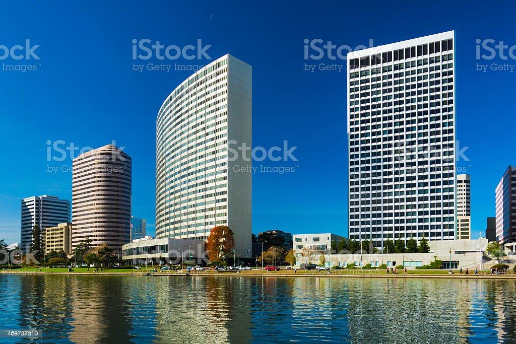 Oakland Downtown skyscrapers and Lake Merritt stock photo