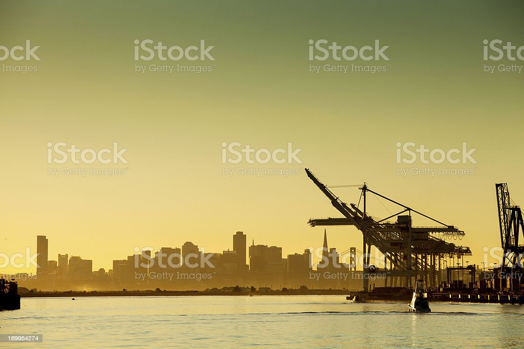 Oakland Harbor at Sunset stock photo