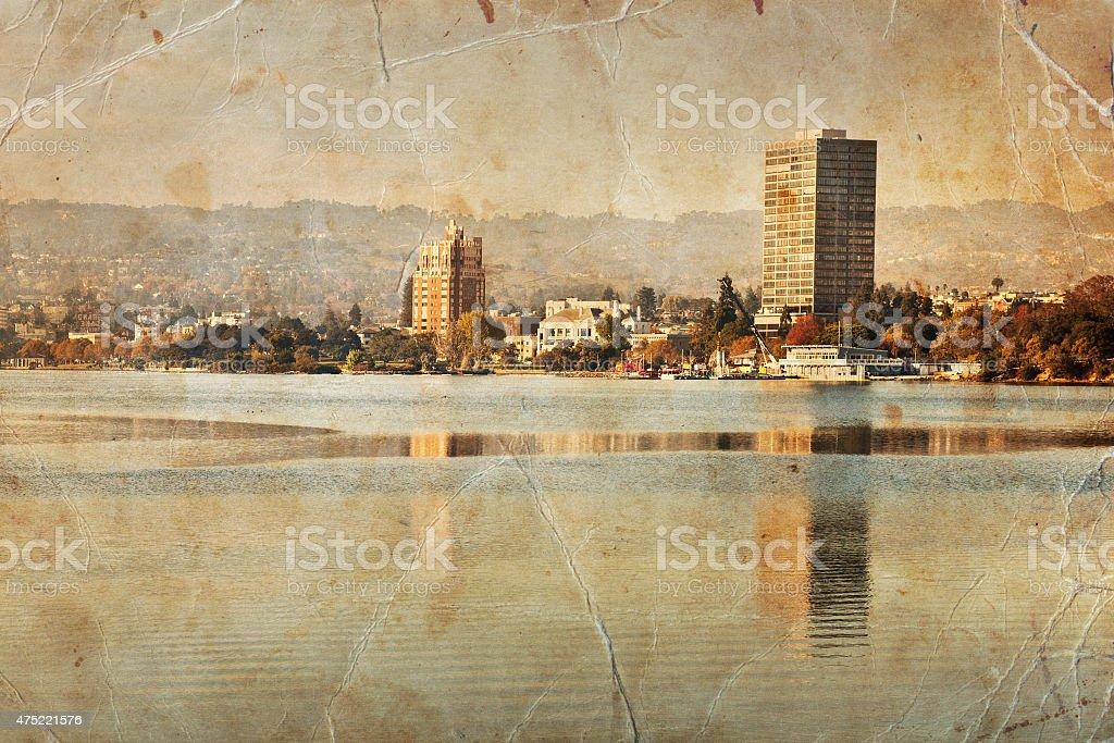 Oakland retro photograph, Lake Merritt landscape stock photo