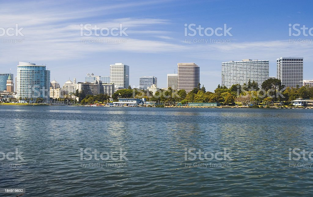 Oakland skyline and Lake Merritt stock photo