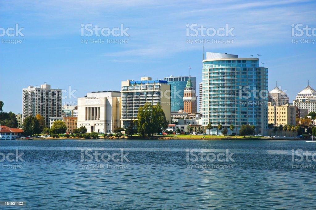 Oakland skyline closeup w/ Lake Merritt stock photo
