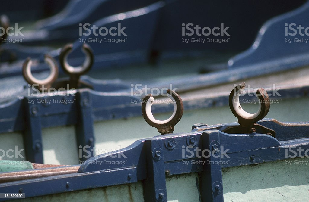 Oar locks on boats. stock photo