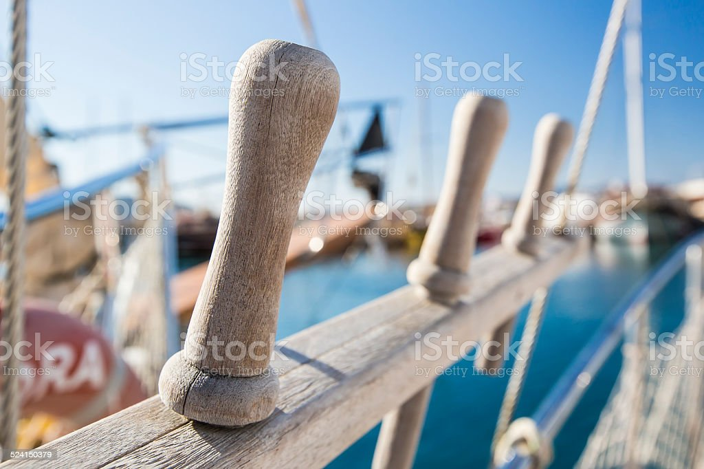 Oarlock on the boat - 2 stock photo