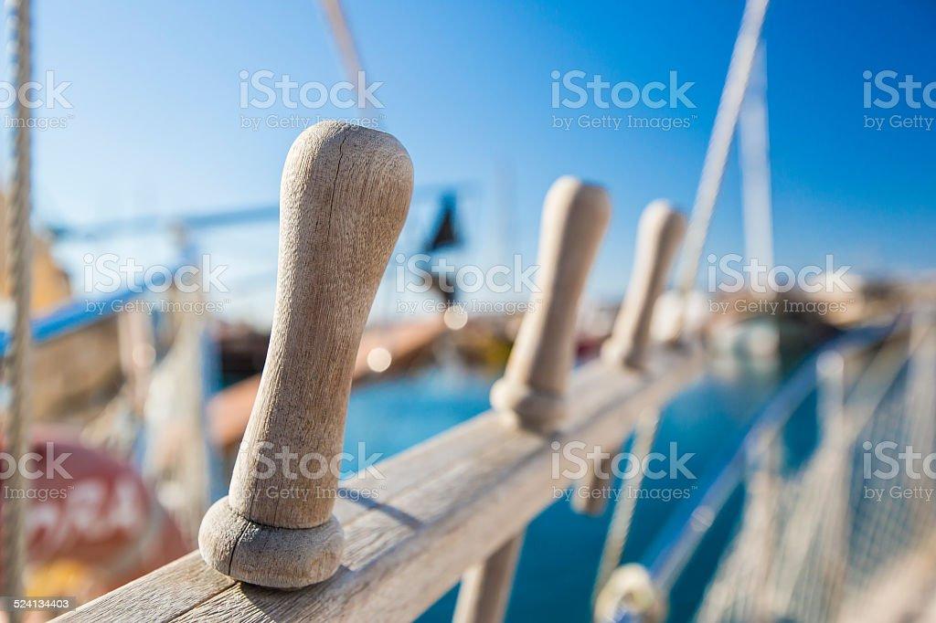 Oarlock on the boat stock photo