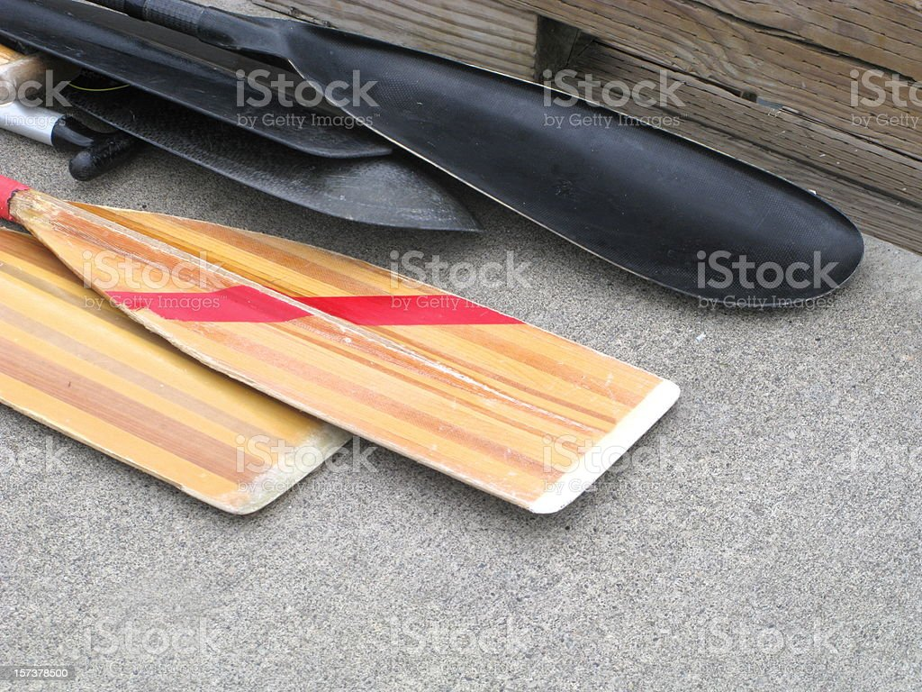 Oars Paddles Boat Close Up royalty-free stock photo
