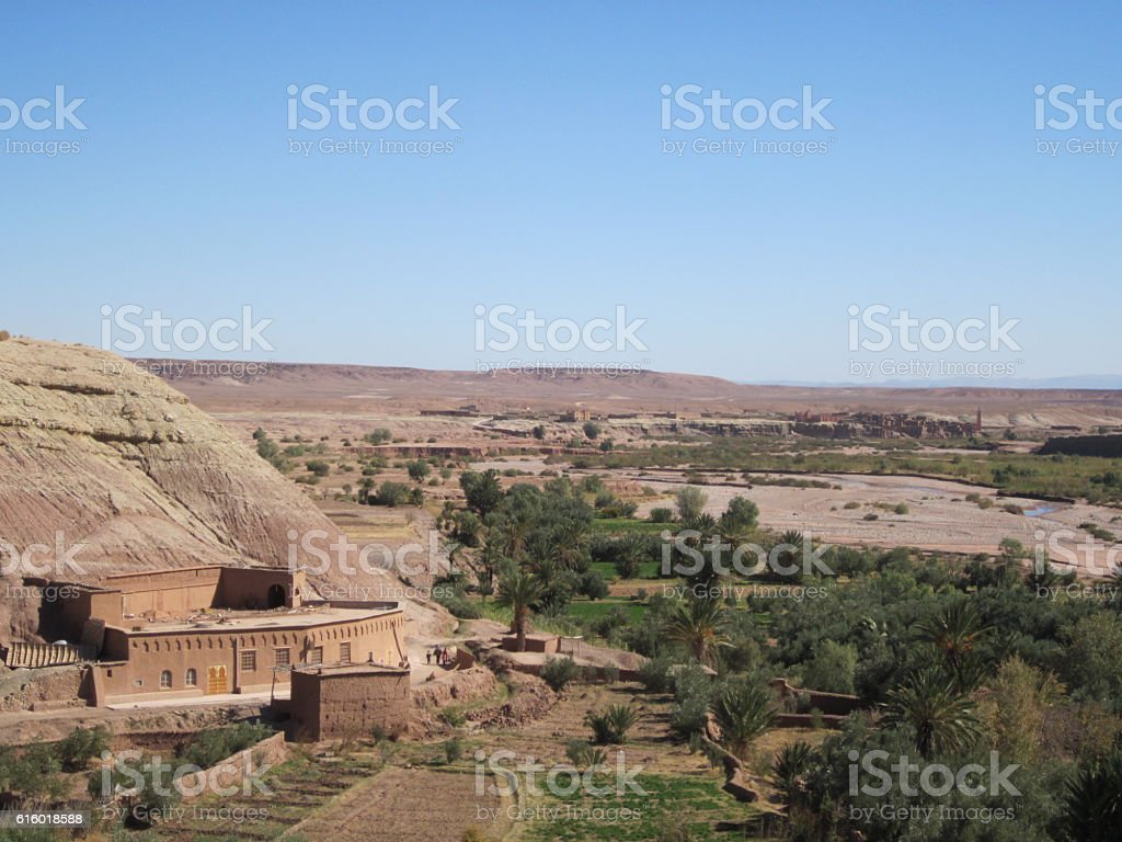 Oasis at Ksar of Ait-Ben-Haddou, Morocco stock photo