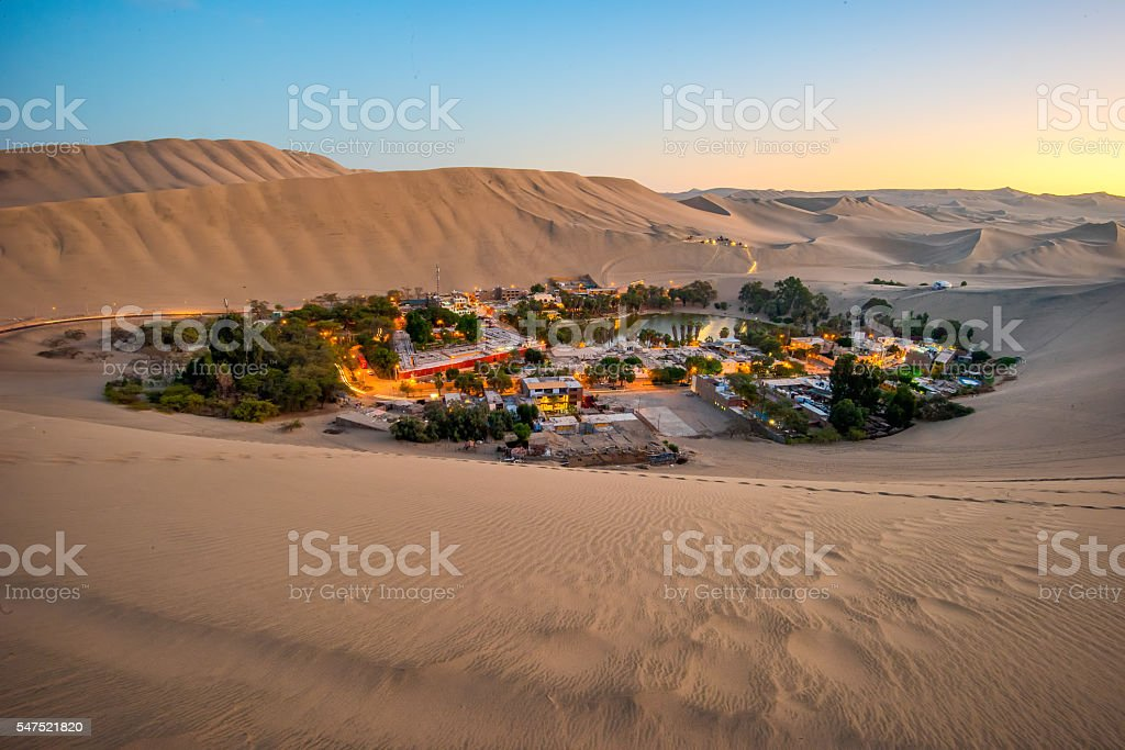 Oasis Huachina Village in Peru stock photo