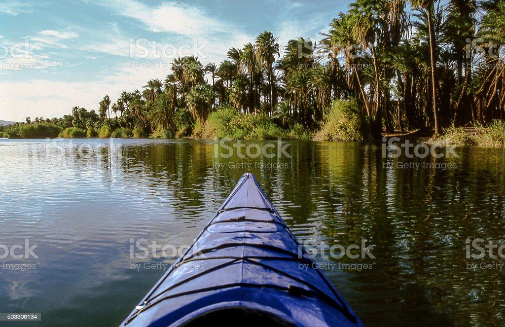 Oasis kayaking stock photo