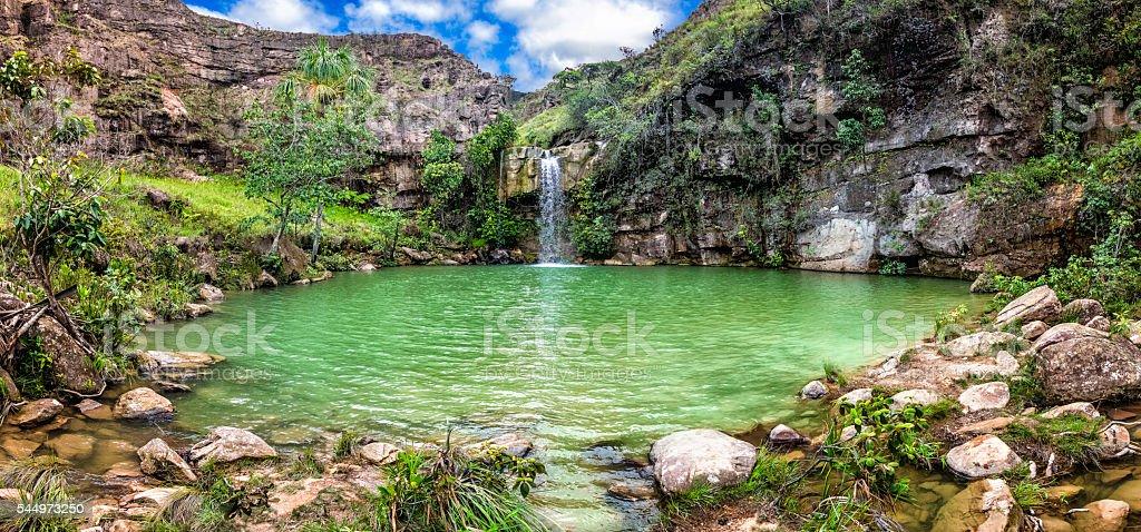 Oasis or Quebrada Pacheco waterfall. La Gran Sabana Venezuela stock photo