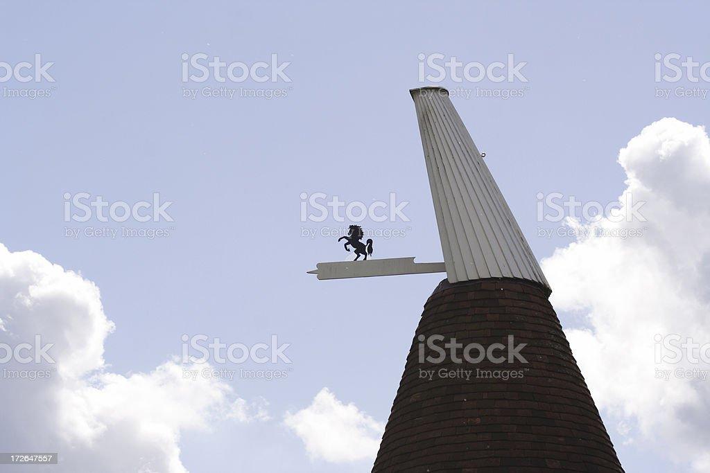 Oast House Cowl against Sky stock photo
