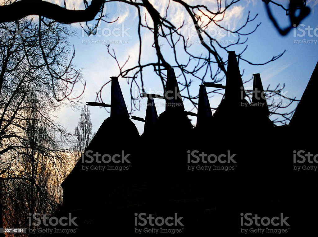 Oast House in Silhouette stock photo