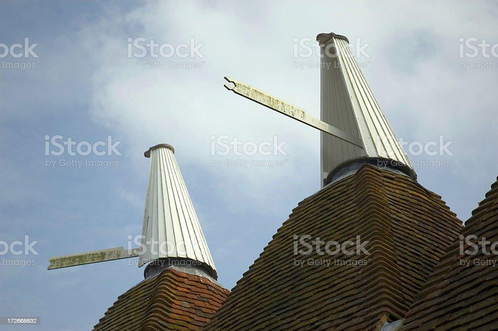 Oast house roof stock photo