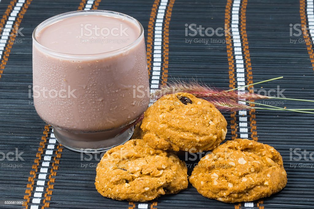 oat and meal rasin cookies stock photo