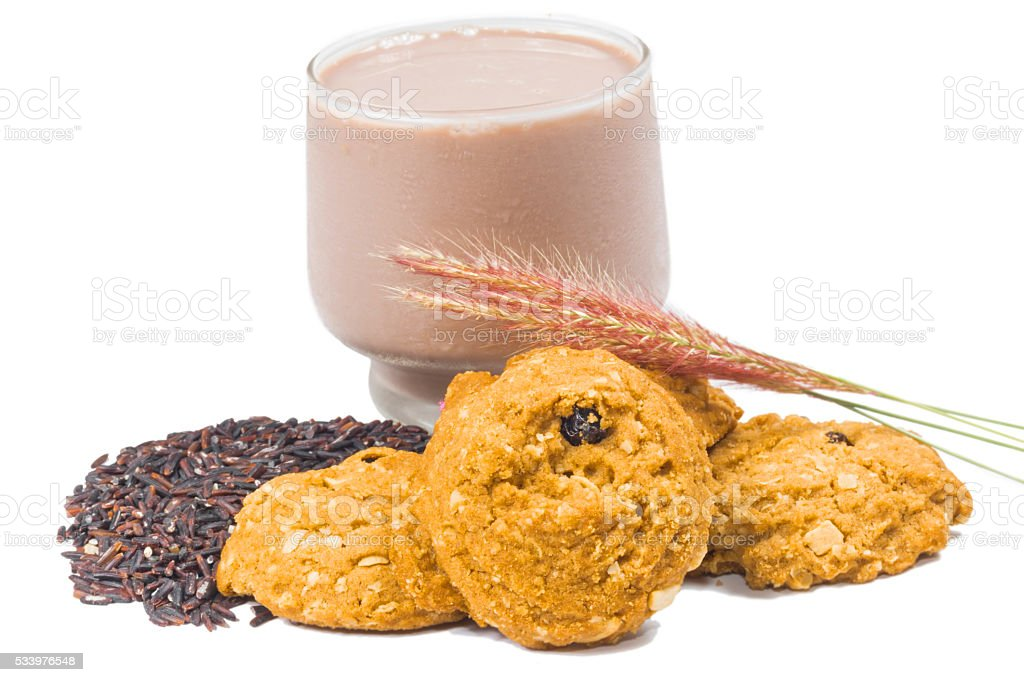 oat and meal rasin cookies with Coffee stock photo
