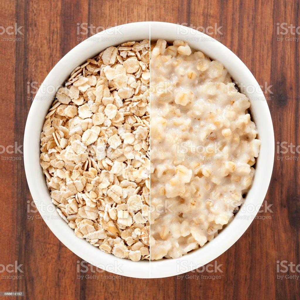 Oat and oatmeal composition stock photo