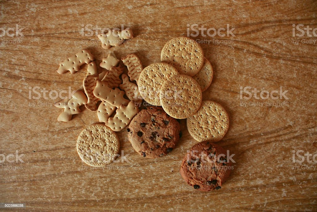 oat and other cookies on wooden table stock photo