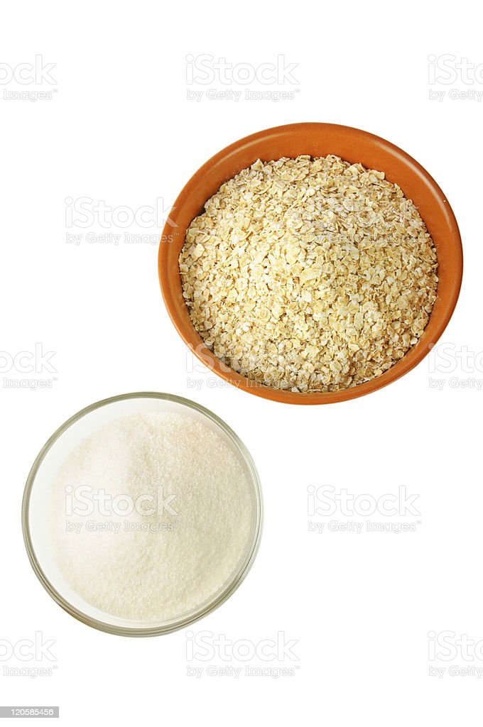 oat and sugar: carbohydrate foods royalty-free stock photo