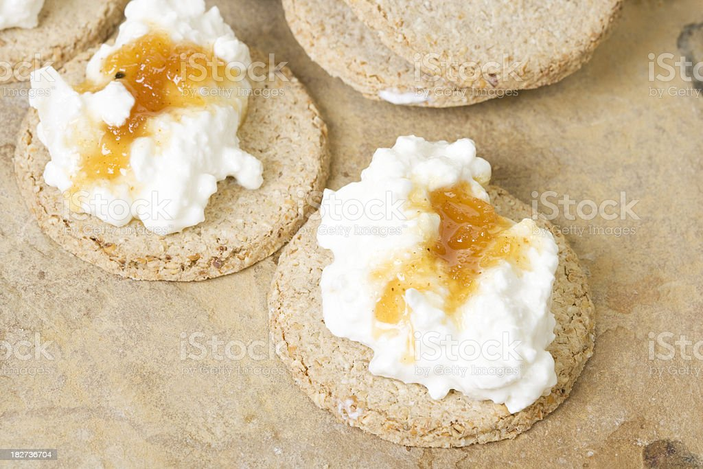 oat cakes with cottage cheese and chutney royalty-free stock photo