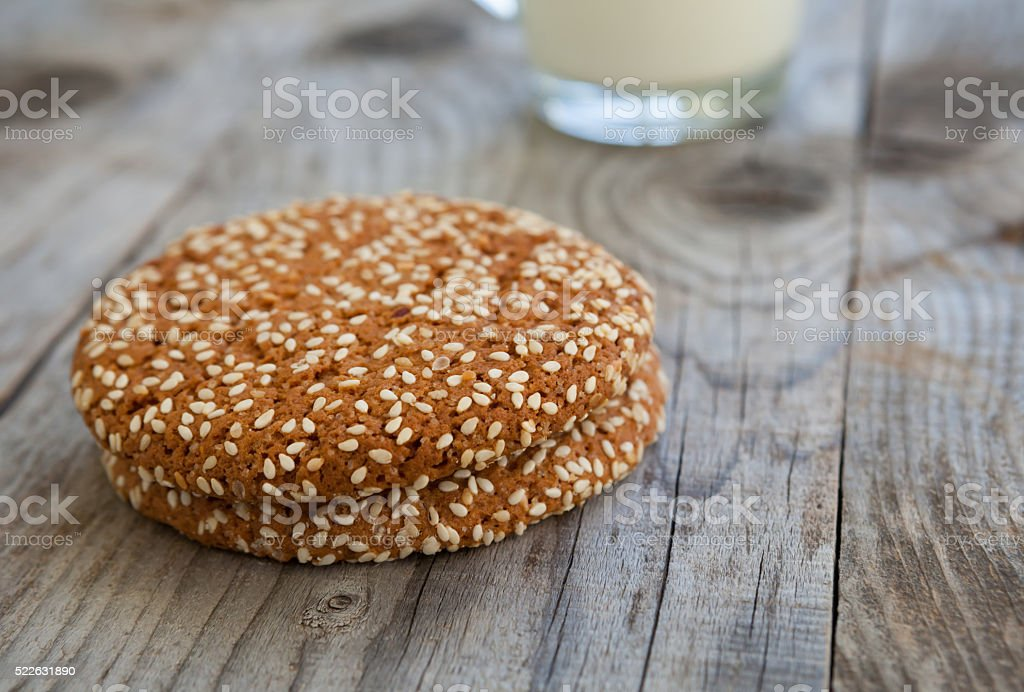 Oat cookies with sesame seed stock photo