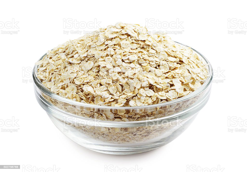 Oat flake in a bowl stock photo