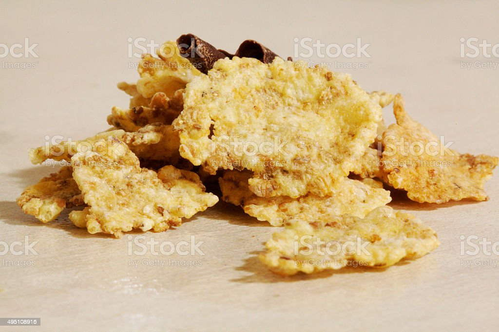 Oat flakes and cacao nibs stock photo