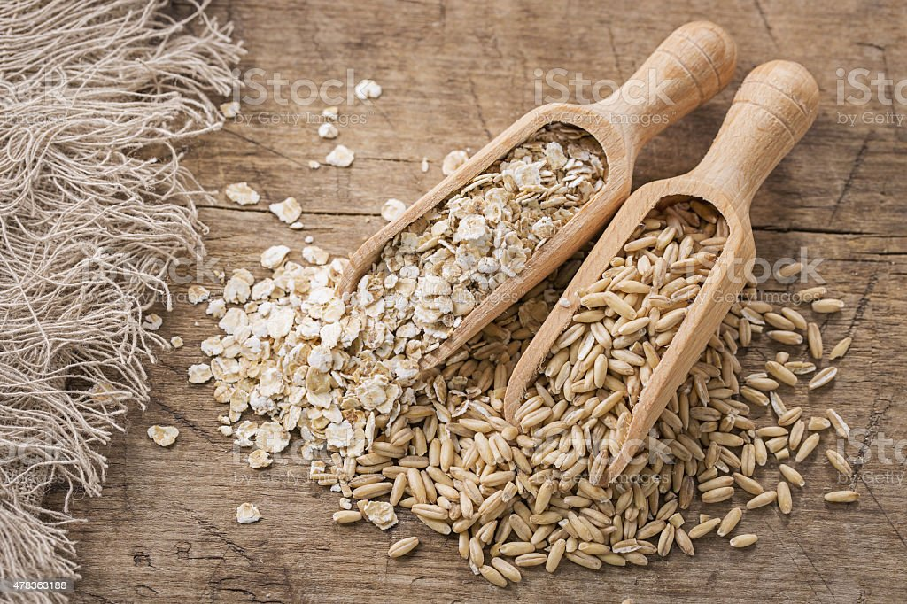 Oat flakes and seeds stock photo
