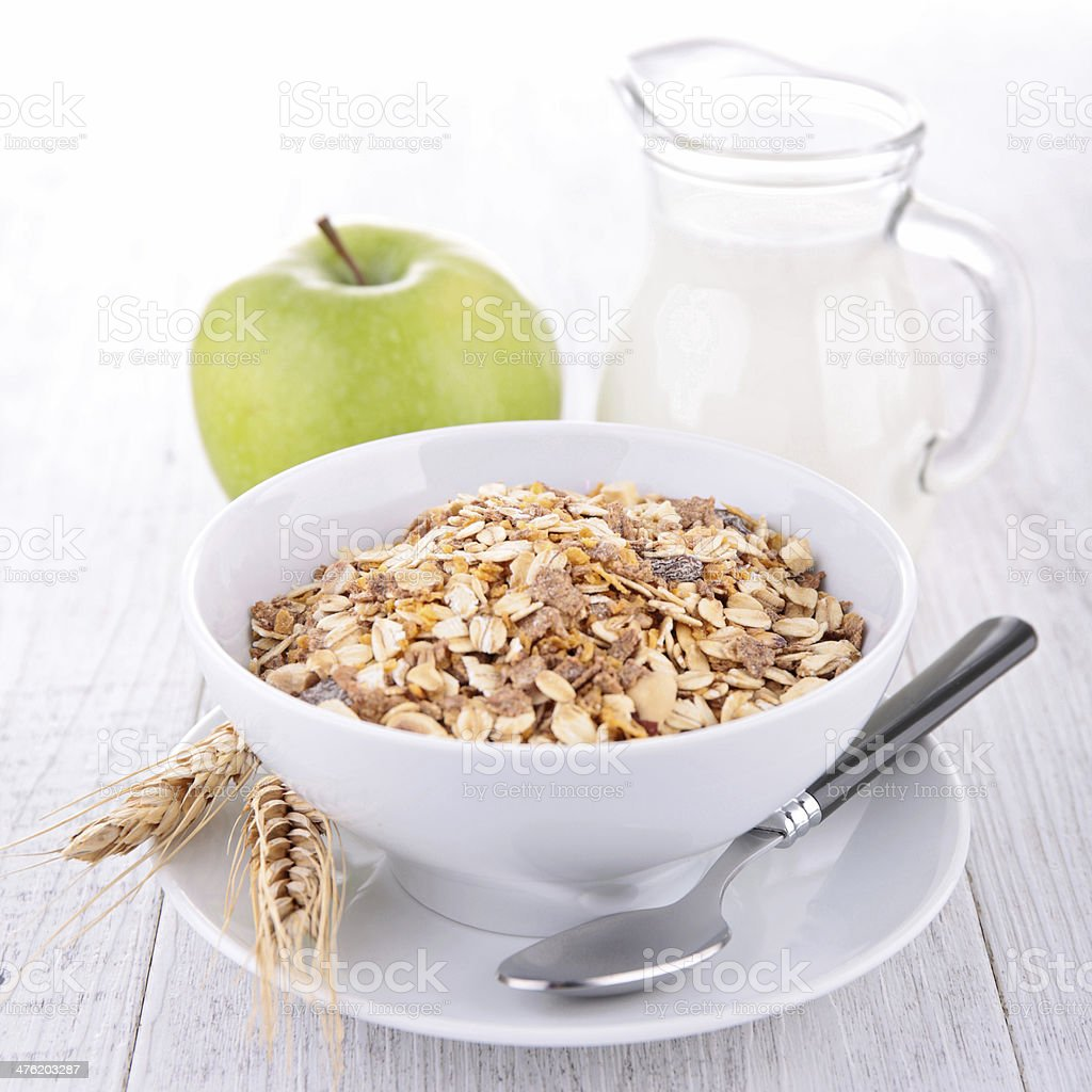 oat flakes, apple and milk stock photo