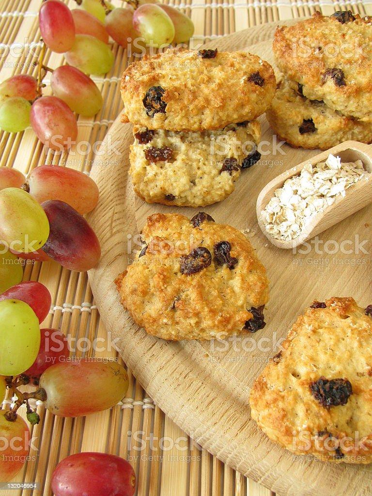 Oat flakes cookies with raisins stock photo