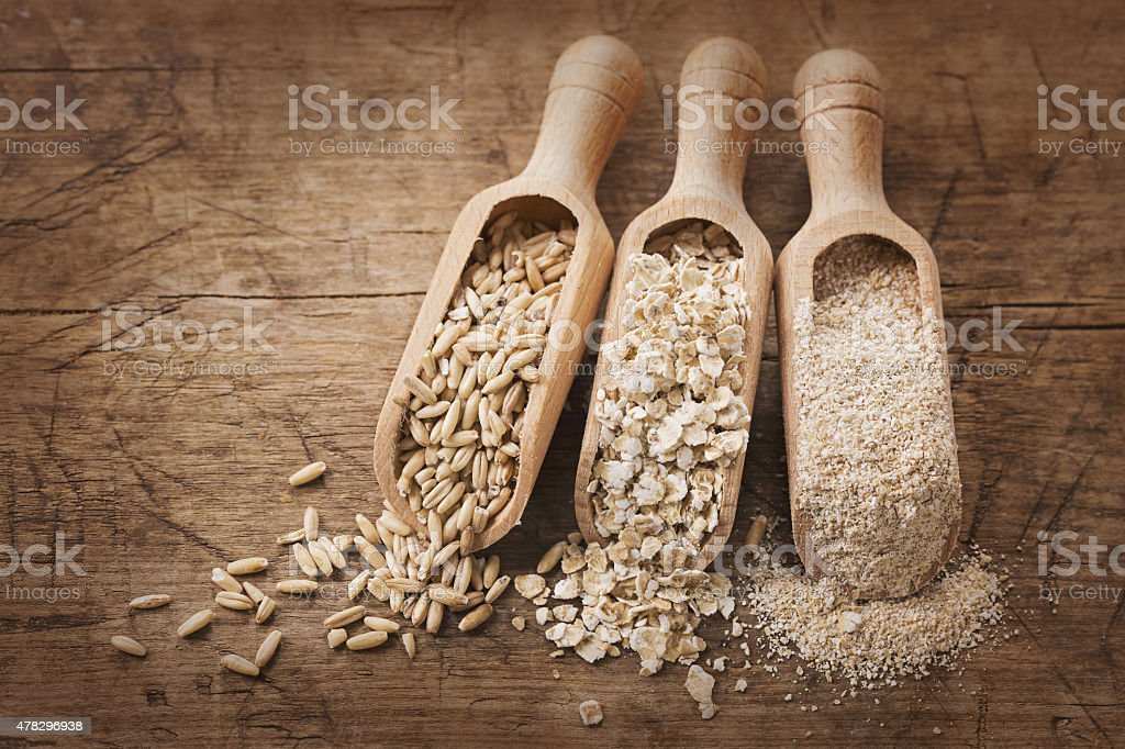 Oat flakes, seeds and bran stock photo