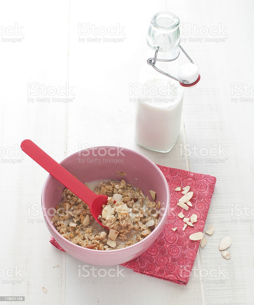 Oat meal with almonds and milk royalty-free stock photo