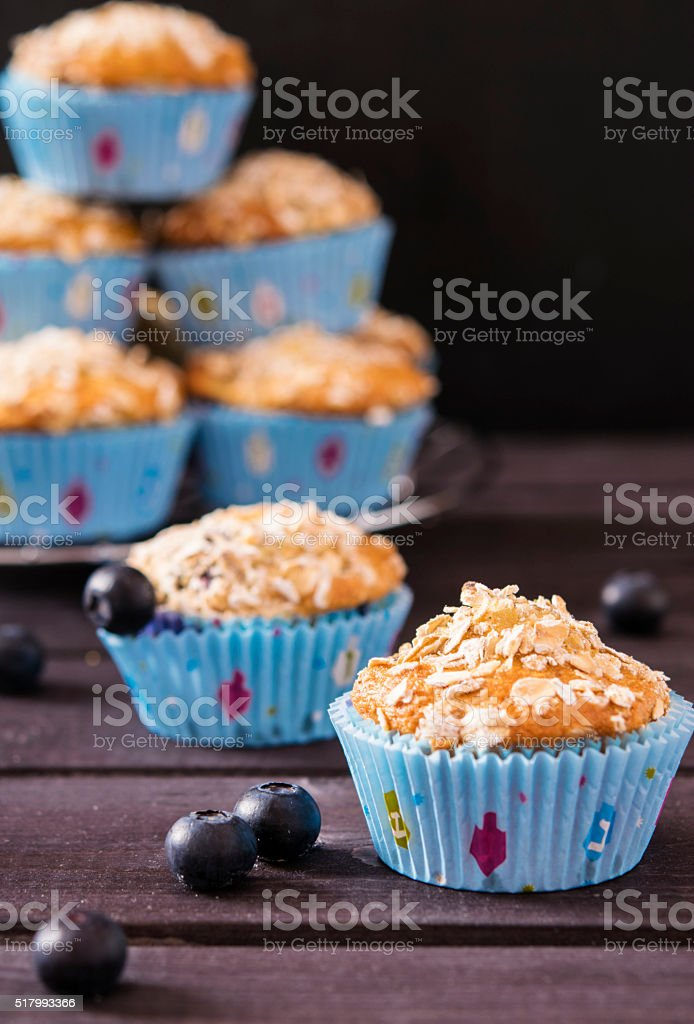 Oat muffins with blueberries stock photo