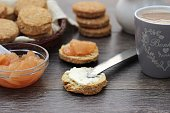 Oat scones with butter and pear jam