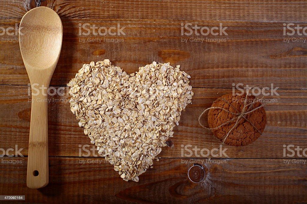 Oatcakes and heart shapes oatmeal stock photo