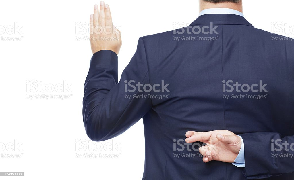 Oaths mean nothing to him - Unethical Business Practices royalty-free stock photo