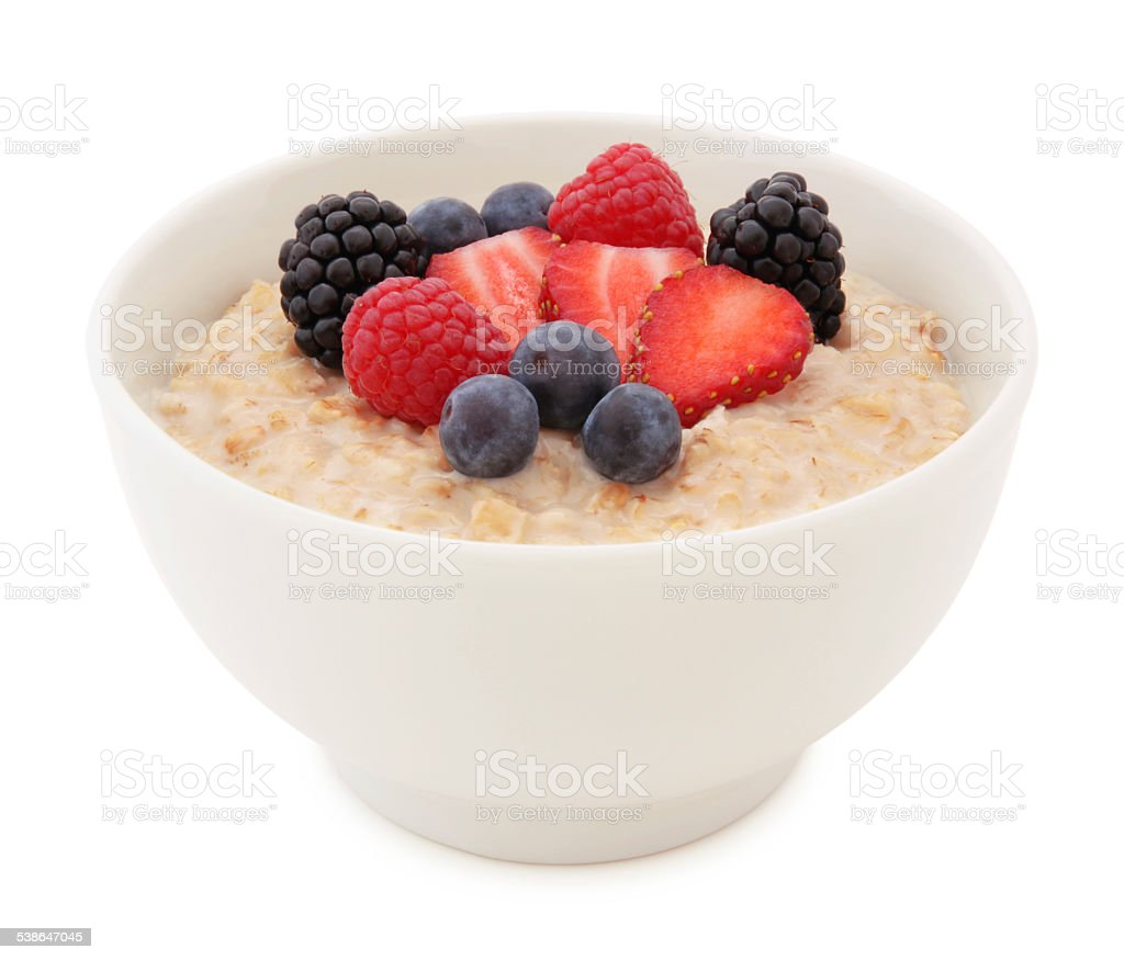 Oatmeal and Berries Bowl (with path) stock photo
