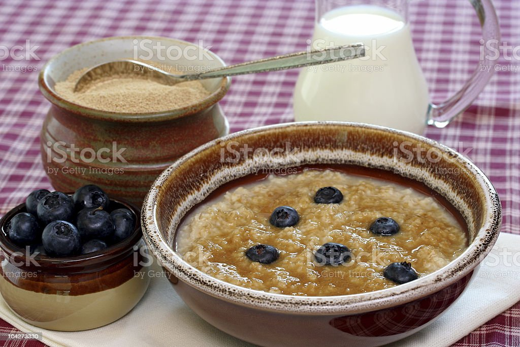 Oatmeal and Blueberries royalty-free stock photo