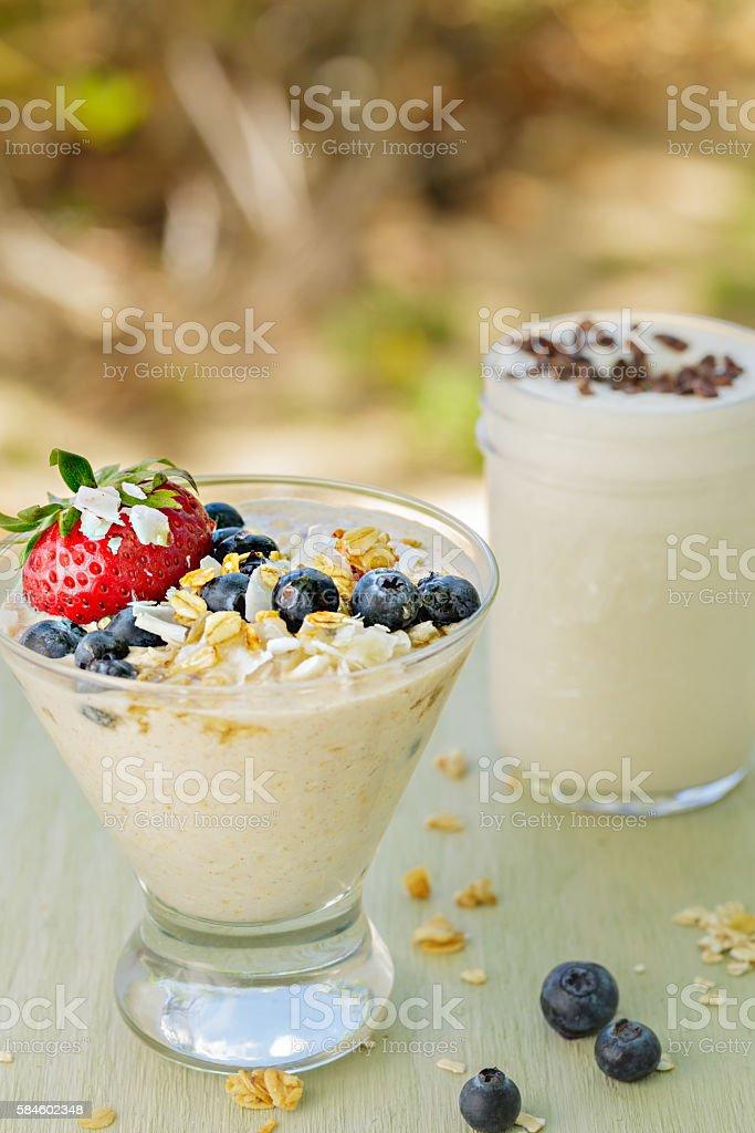 Oatmeal and Chia Pudding stock photo