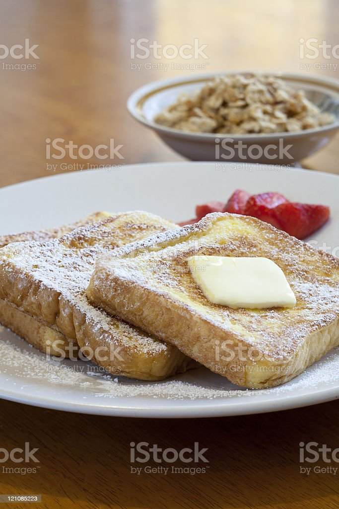 Oatmeal and french toast. stock photo