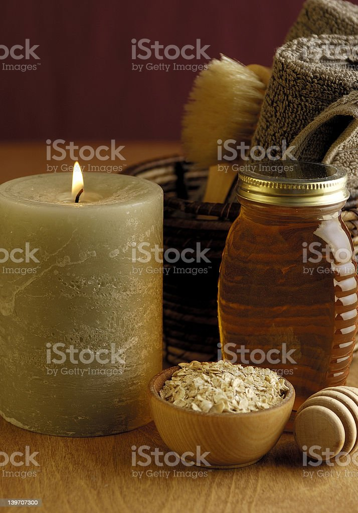 Oatmeal and Honey Bath royalty-free stock photo