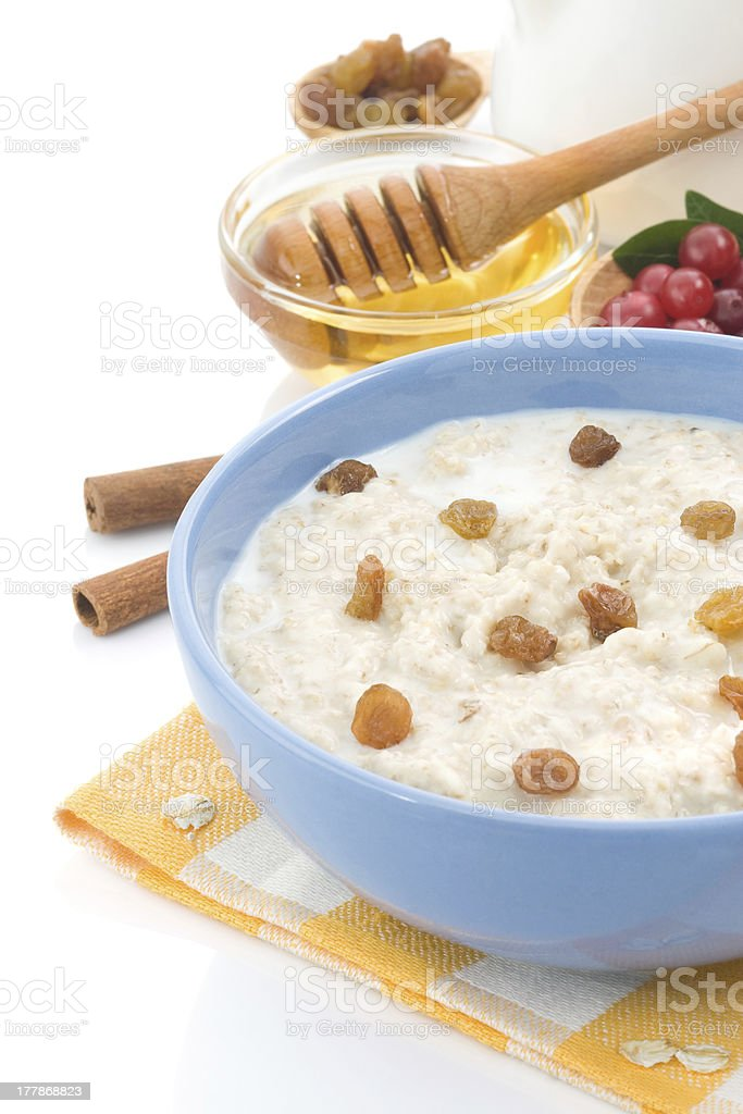 oatmeal and milk isolated on white royalty-free stock photo