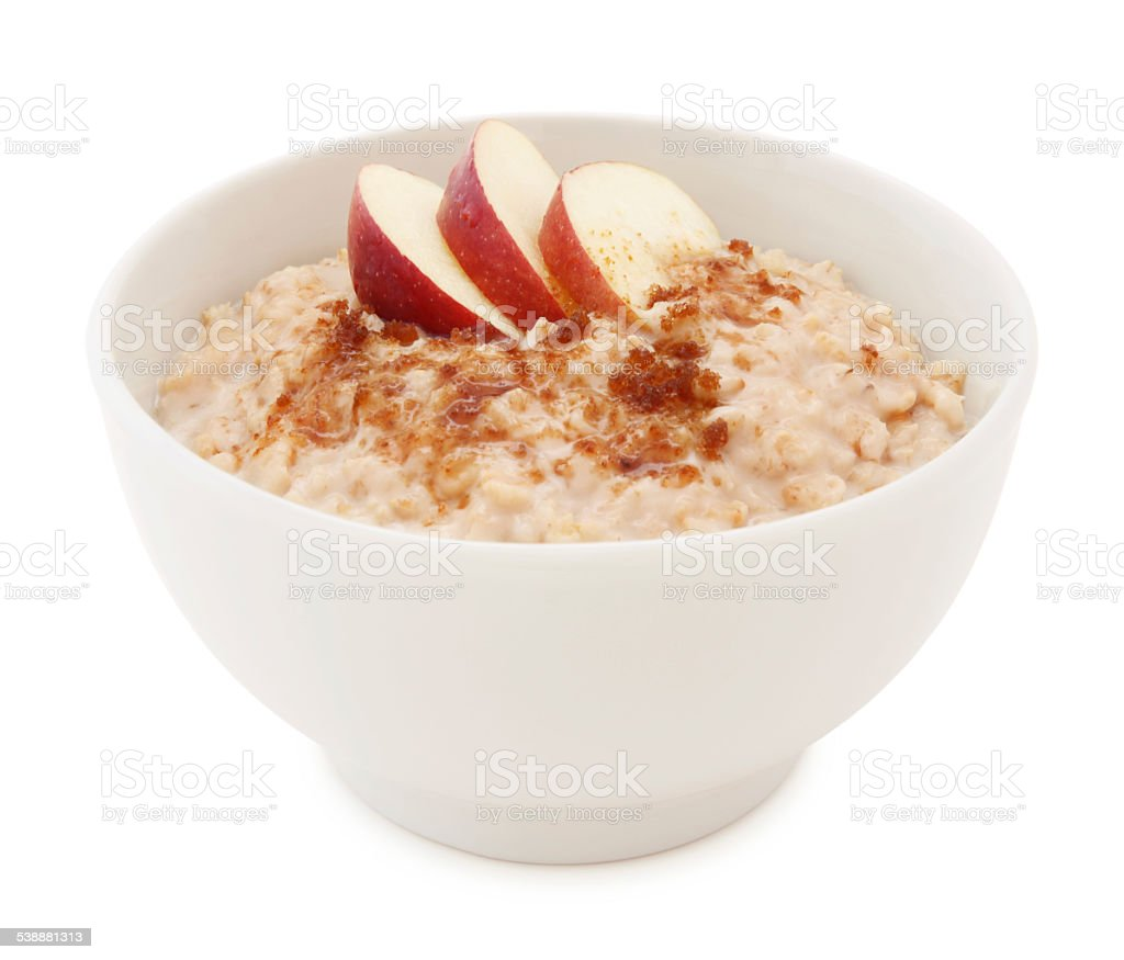 Oatmeal, apple and sugar bowl (with path) stock photo