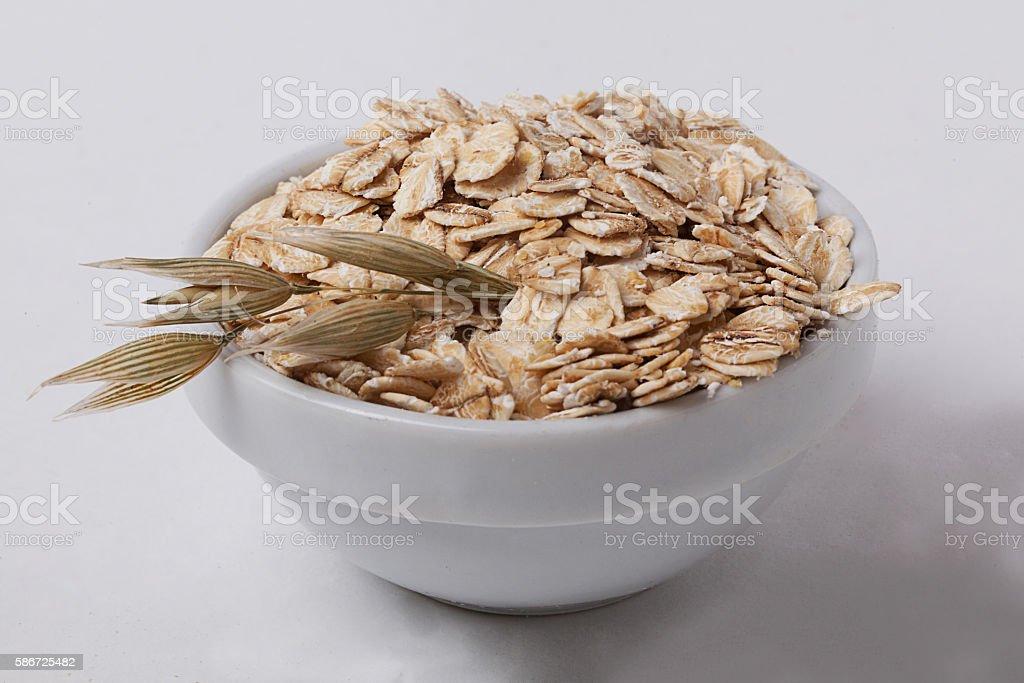 oatmeal bowl ear oats stock photo