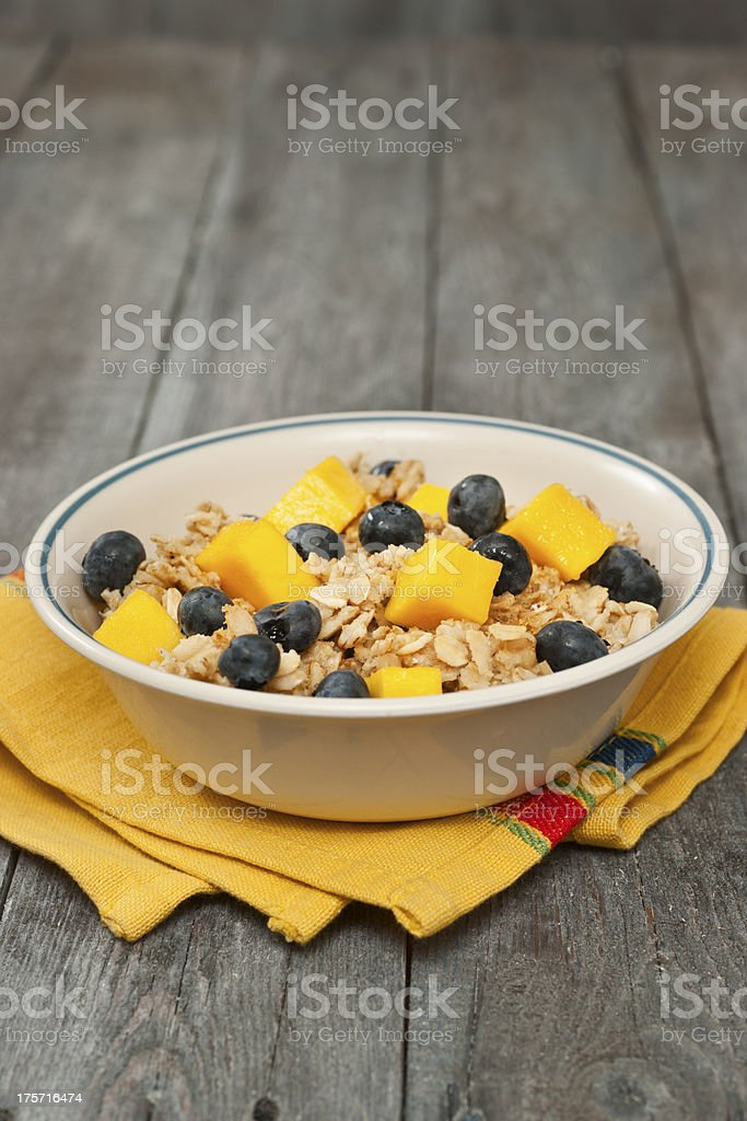 Oatmeal Breakfast with Fruit royalty-free stock photo