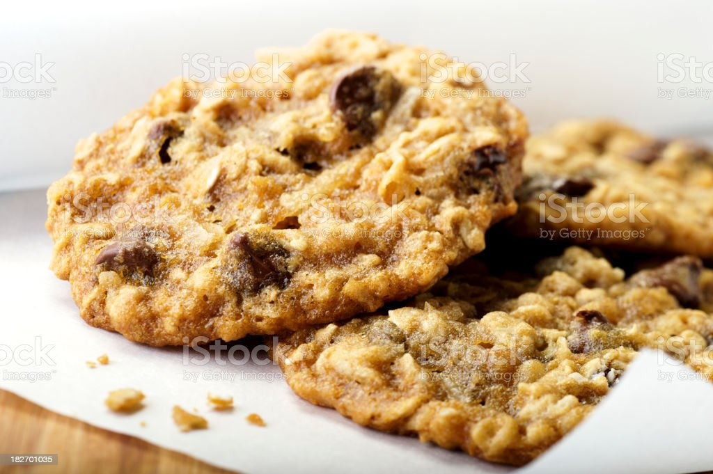 Oatmeal Chocolate Chip Cookies royalty-free stock photo