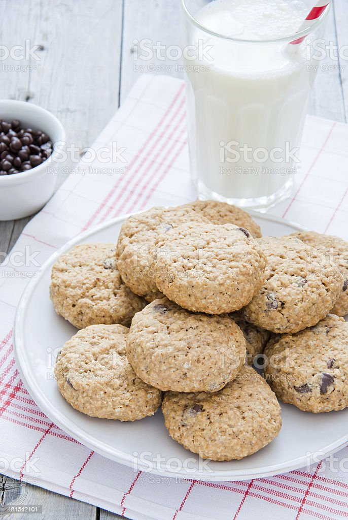 Oatmeal Chocolate Chip Cookies stock photo