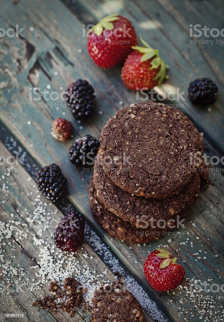 Oatmeal chocolate cookies with fruit royalty-free stock photo