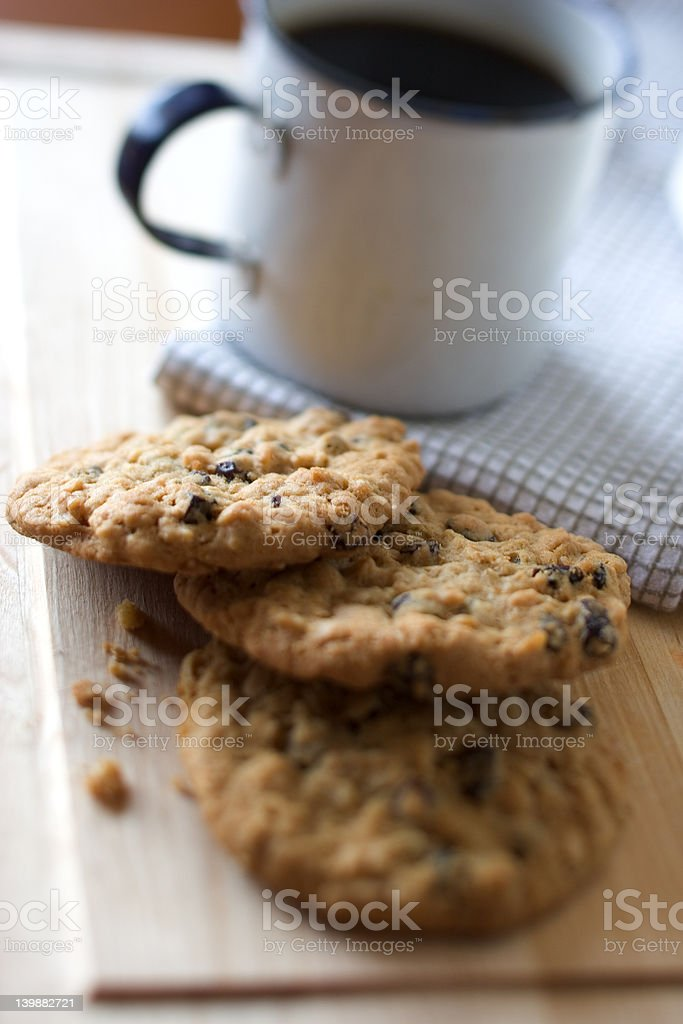 Oatmeal Cookies and Coffee stock photo