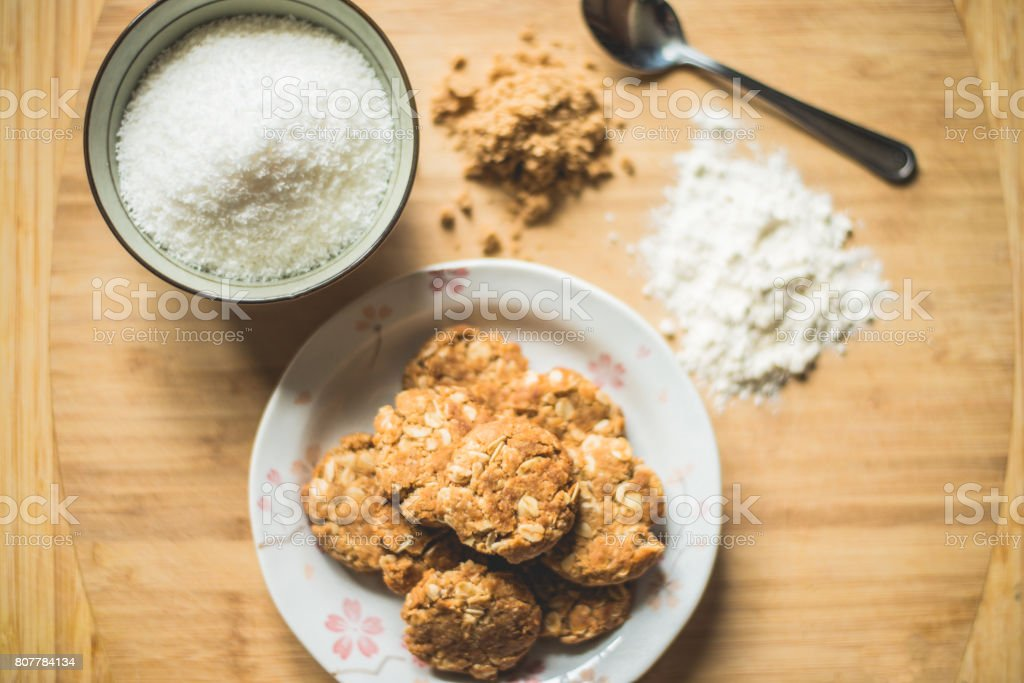 Oatmeal cookies and ingredients stock photo