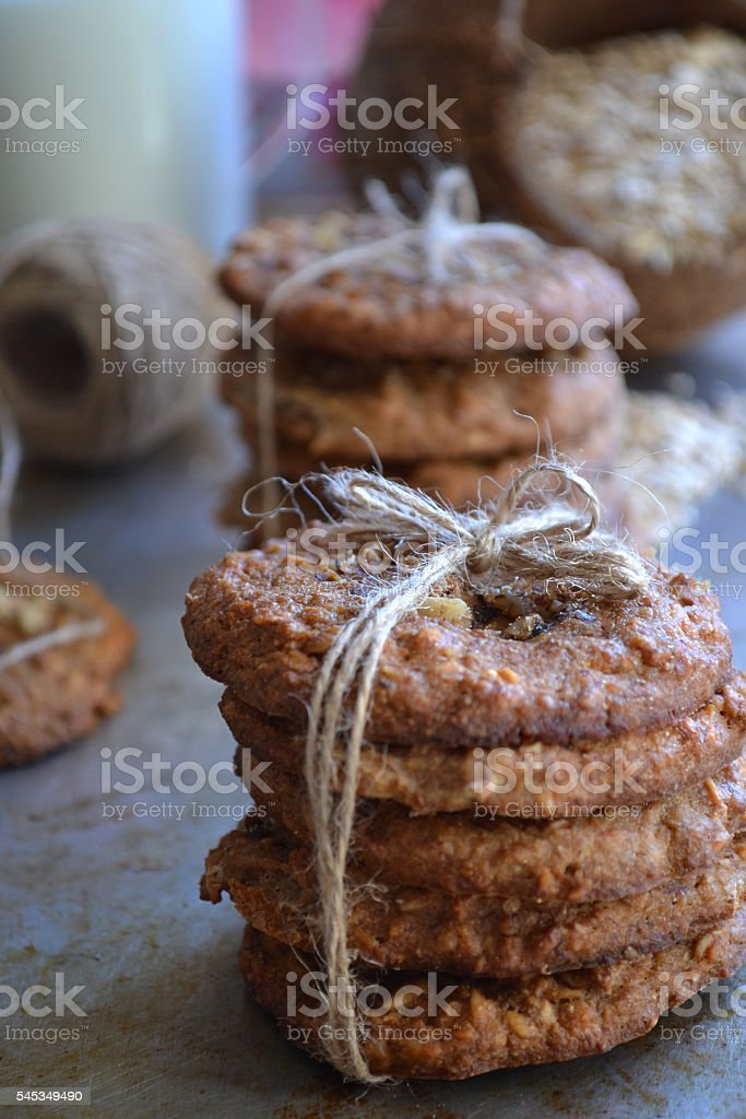 oatmeal cookies on a metal background stock photo