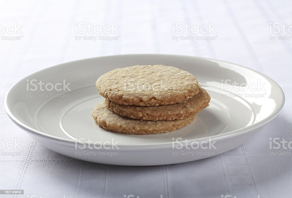 Oatmeal cookies on a plate royalty-free stock photo